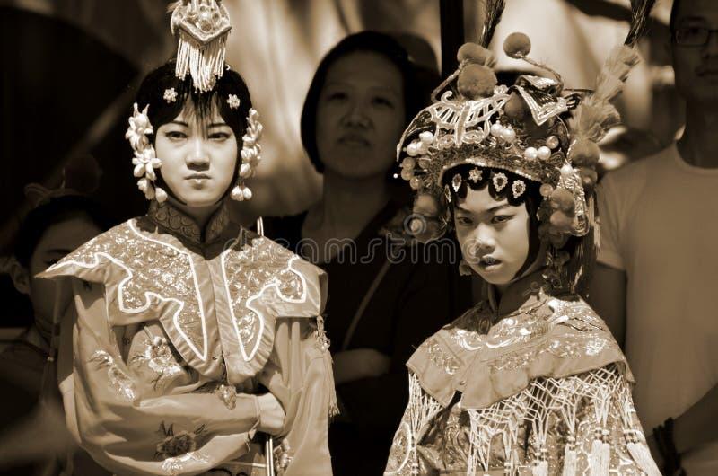 未认出儿童参与中国文化星期 免版税库存照片