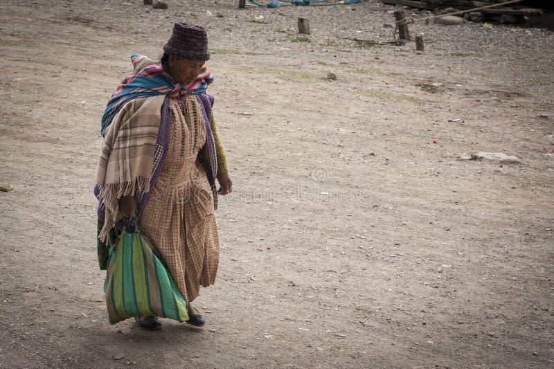 未认出的土产妇女在圣佩德罗火山在Titikaka湖,玻利维亚-南美的de Tiquina小村庄  图库摄影