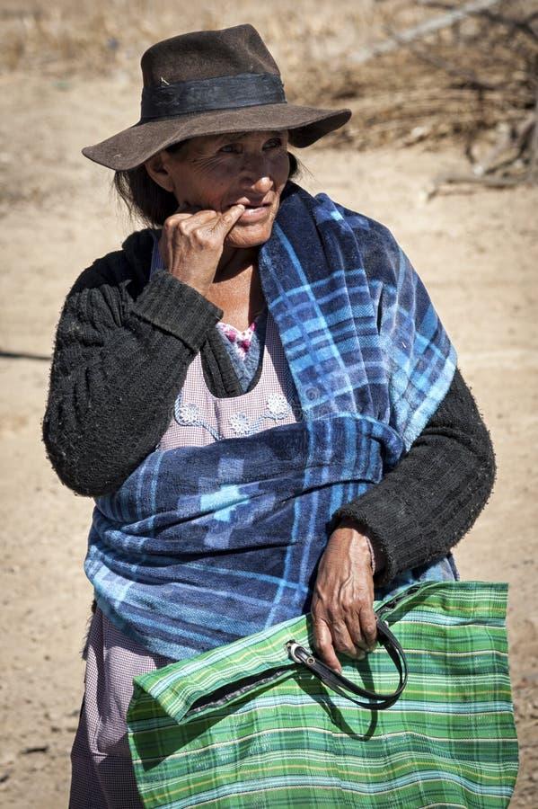 未认出的土产当地盖丘亚族人的妇女在地方Tarabuco星期天市场上,玻利维亚 免版税图库摄影