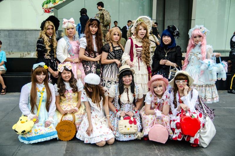 未认出的日本芳香树脂cosplay姿势在日本Festa在曼谷2013年 免版税库存照片