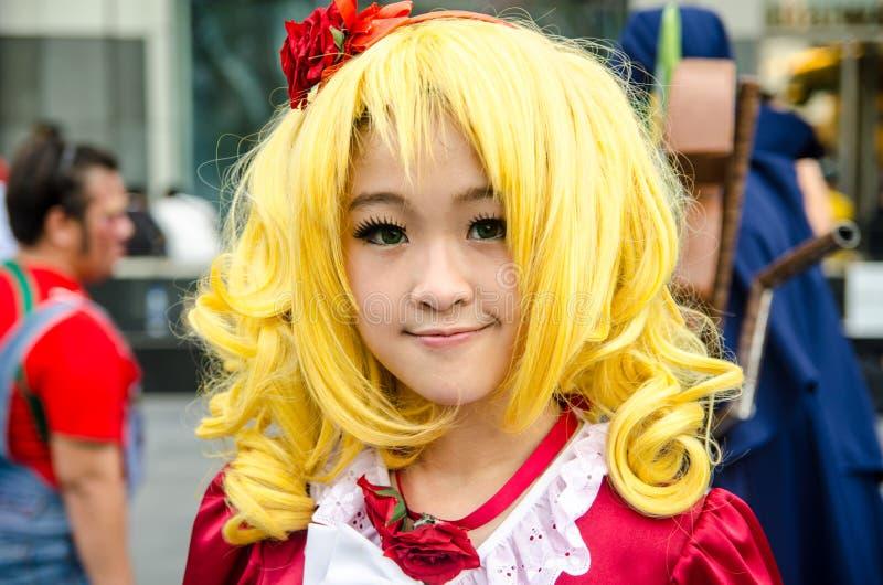 未认出的日本芳香树脂cosplay姿势在日本Festa在曼谷2013年 库存照片