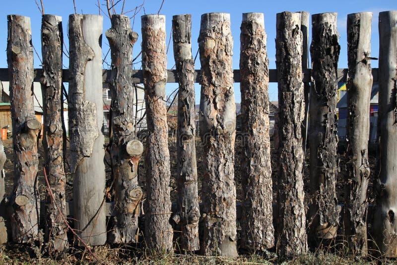 未经治疗的木头篱芭  免版税库存照片