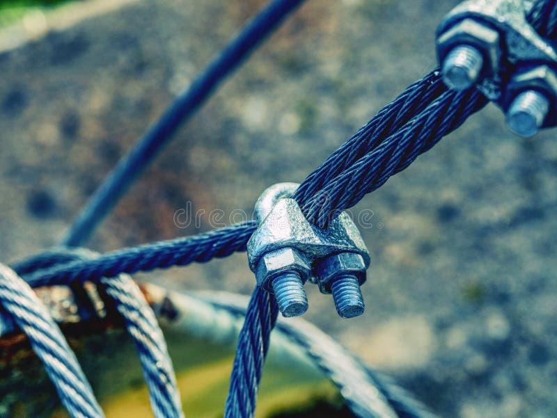 末端结钢索 不锈的套筒螺母 库存图片