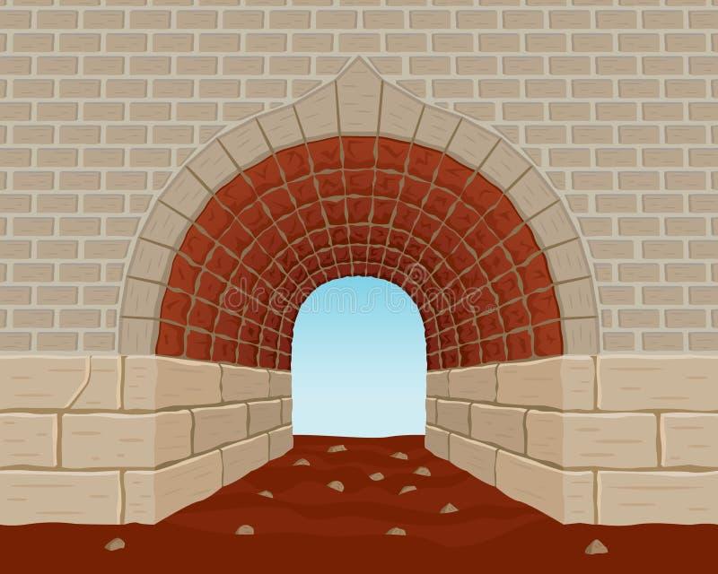 末端轻的隧道 向量例证
