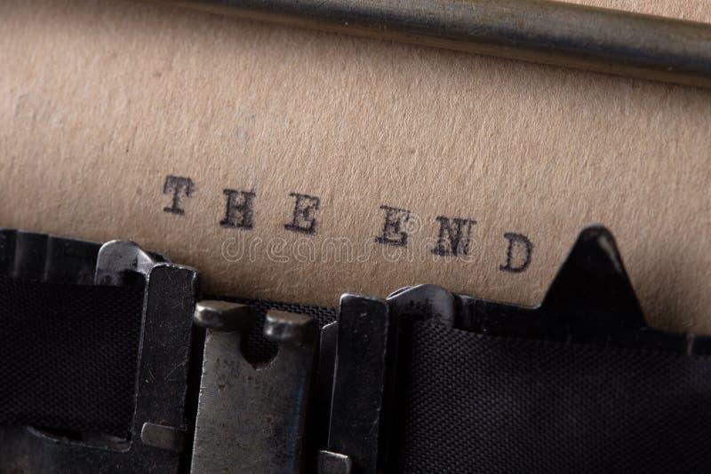 末端-题字由老打字机做了 库存图片