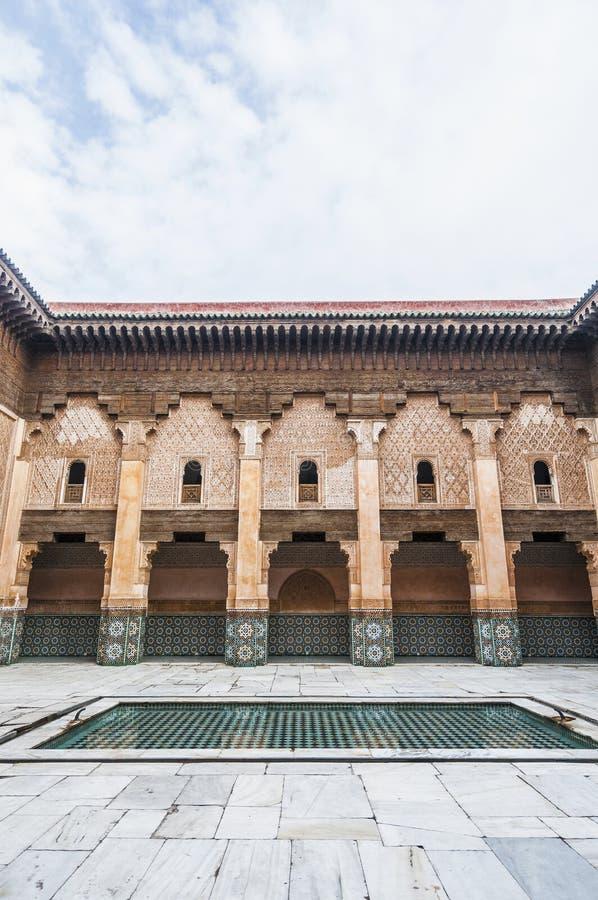 本・马拉喀什medersa摩洛哥yussef 图库摄影