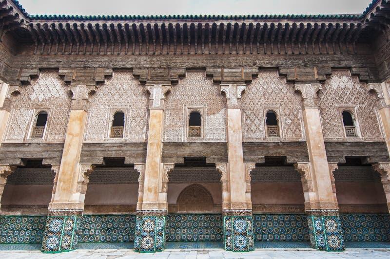 本・马拉喀什medersa摩洛哥yussef 免版税库存照片
