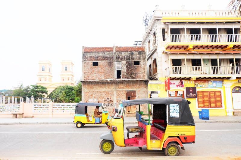 本地治里市是首都和Puducherry印地安联邦属地大城市  免版税库存照片
