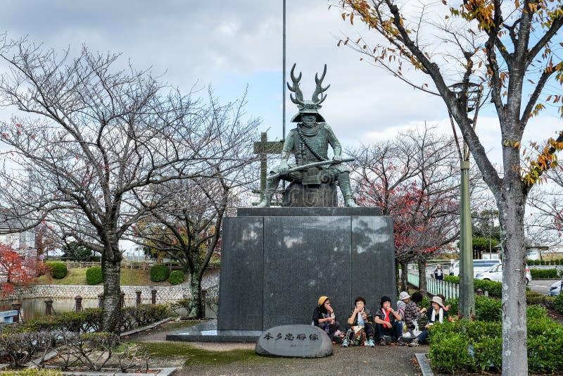 本多忠胜在桑名市也叫本田平八郎雕象 三重县 ?? 库存图片