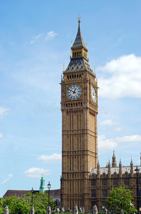 本大时钟英国伦敦塔 免版税库存图片
