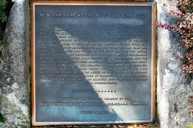 本宁顿佛蒙特状态美国历史的标志 库存图片