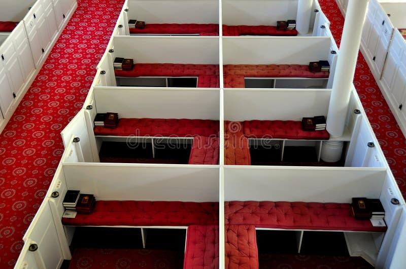本宁顿, VT :在第一公理会的装箱的座位 库存图片
