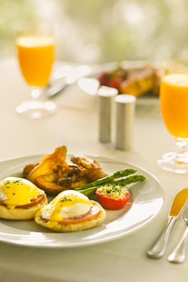 本尼迪克特早餐鸡蛋 免版税库存照片