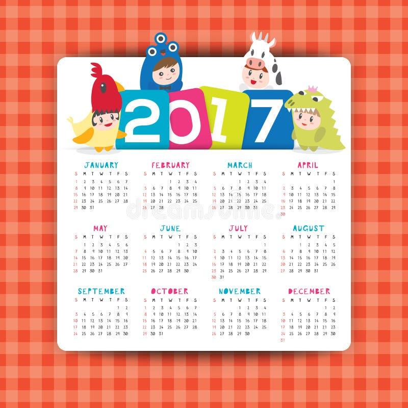 2017本日历与孩子漫画人物的传染媒介模板 皇族释放例证