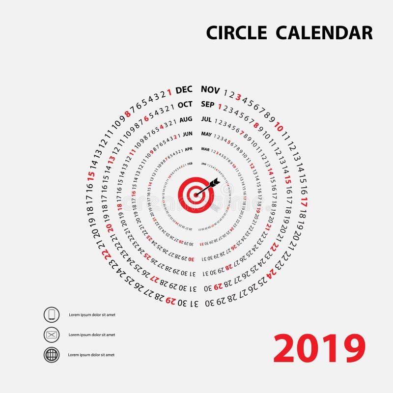 2019本日历模板 圈子日历 日历2019套12 M 向量例证