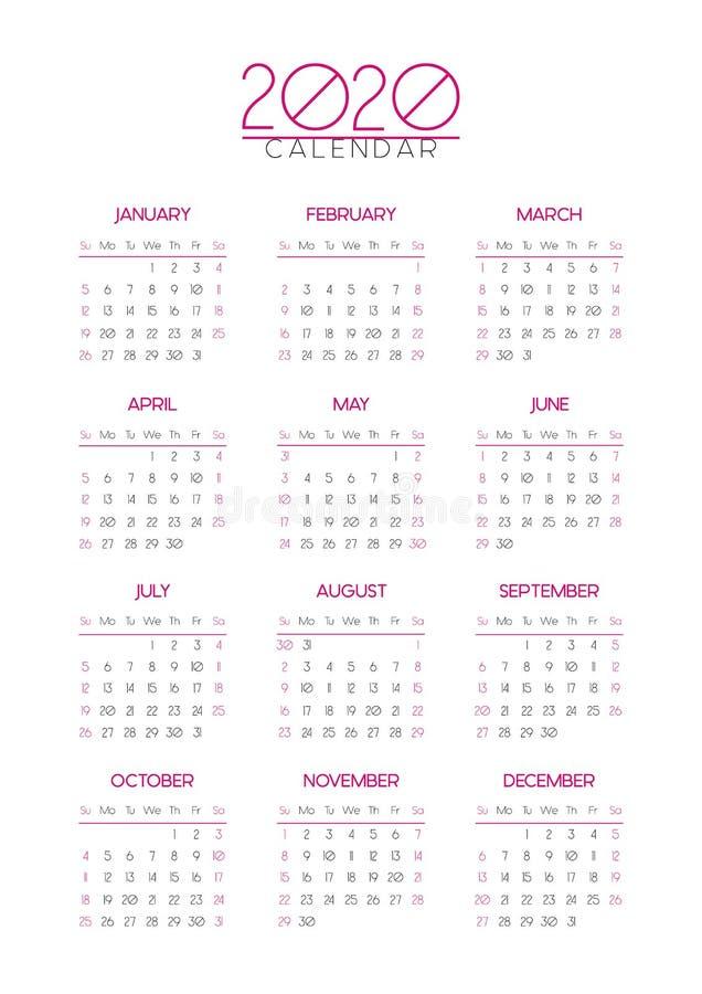 简单的2020年日历,平的编辑可能的企业模板