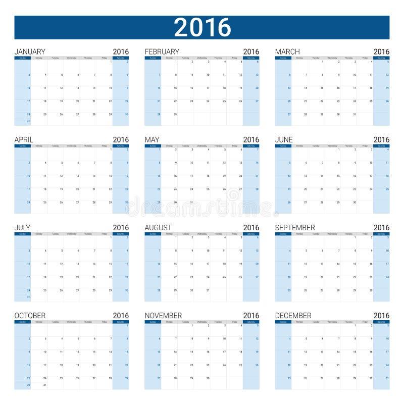 2016本日历, 12个月 皇族释放例证