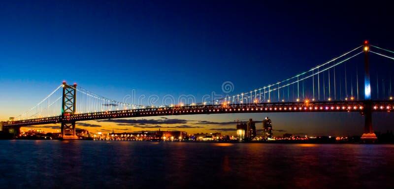 本杰明桥梁富兰克林日落 库存图片