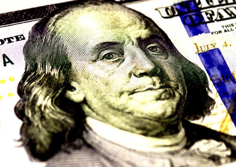 本杰明・富兰克林在美国一百或100面对美金宏指令,美国金钱特写镜头 库存图片