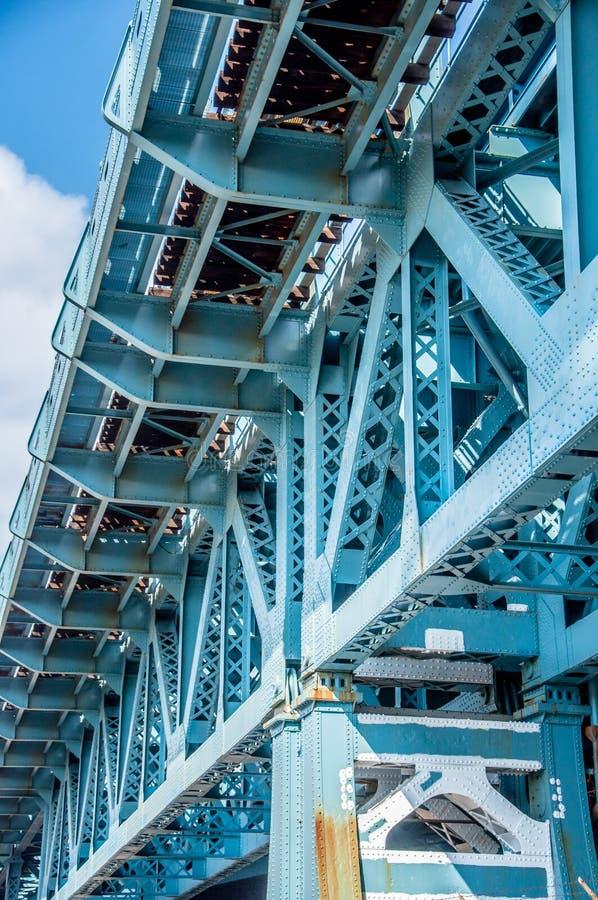 本杰明・富兰克林桥梁的结构细节 免版税库存图片