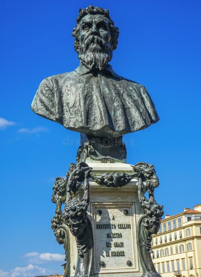 本韦努托・切利尼雕象蓬特Vecchio佛罗伦萨托斯卡纳意大利 免版税库存图片