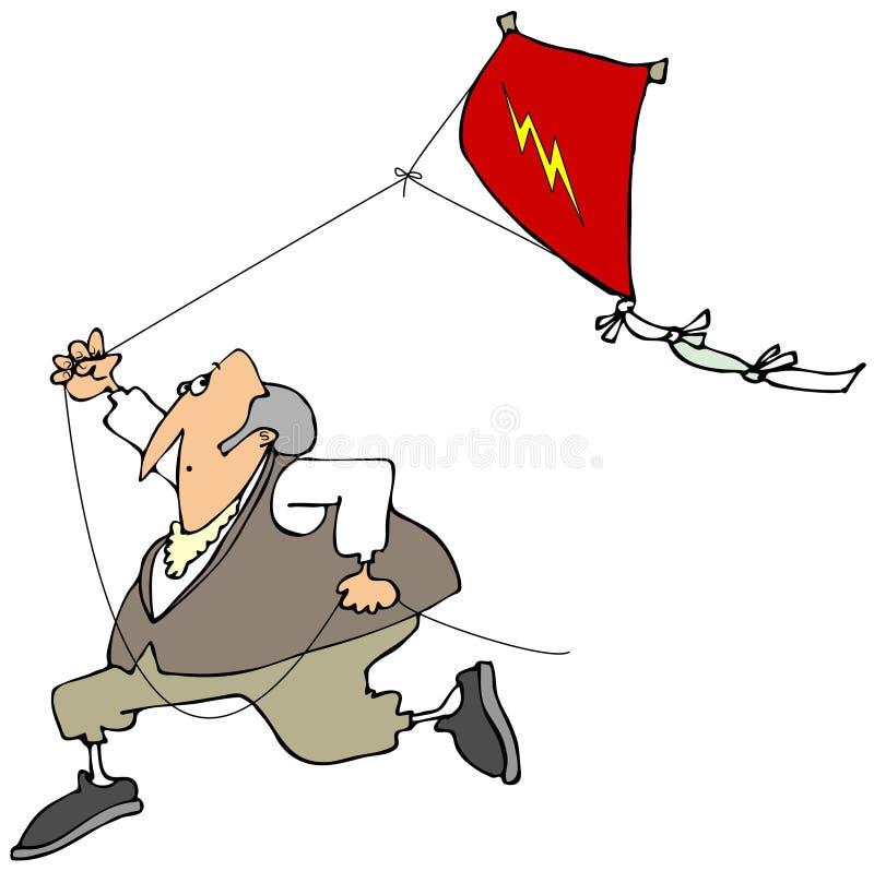 本飞行风筝的富兰克林 皇族释放例证