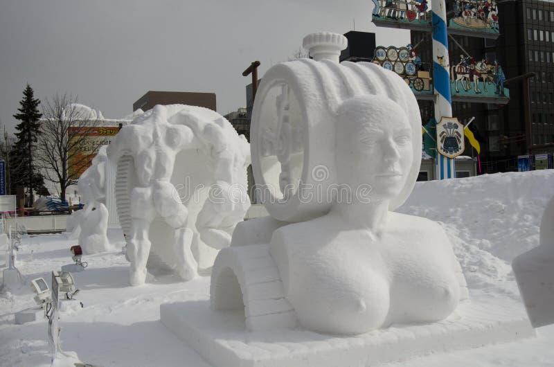 札幌雪节日雕塑 免版税图库摄影