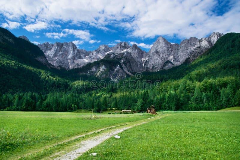 朱利安阿尔卑斯山的看法在斯洛文尼亚 免版税图库摄影