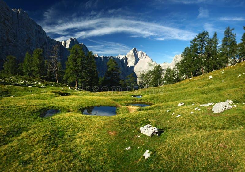 从朱利安阿尔卑斯山,斯洛文尼亚的风景。在Jalovec的看法 图库摄影