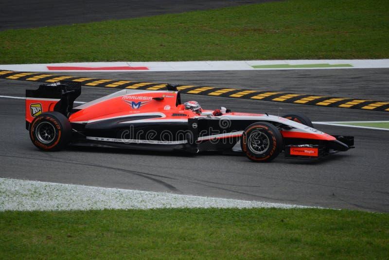 朱尔斯MR03驾驶的Marussia哔安其在蒙扎 免版税库存图片