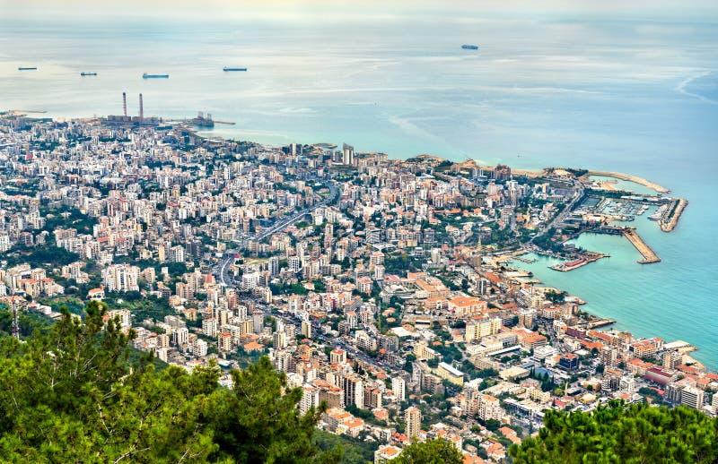 朱尼耶鸟瞰图在黎巴嫩 库存图片