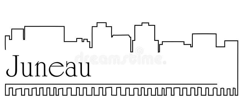 朱诺市一线描与都市风景的摘要背景 向量例证