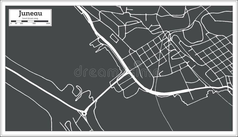 朱诺美国在减速火箭的样式的市地图 黑白向量例证 皇族释放例证
