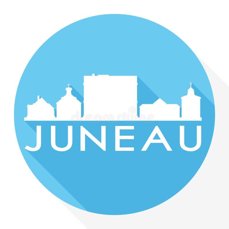 朱诺阿拉斯加首都美国圆的象传染媒介艺术平的阴影设计地平线城市剪影模板商标 向量例证