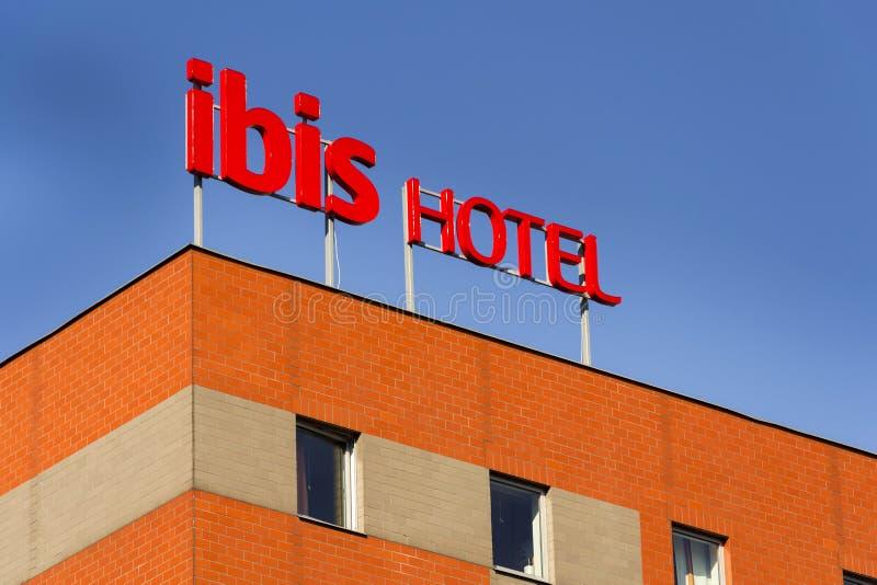 朱鹭旅馆在大厦的公司商标2015年10月1日在布拉格,捷克共和国 图库摄影