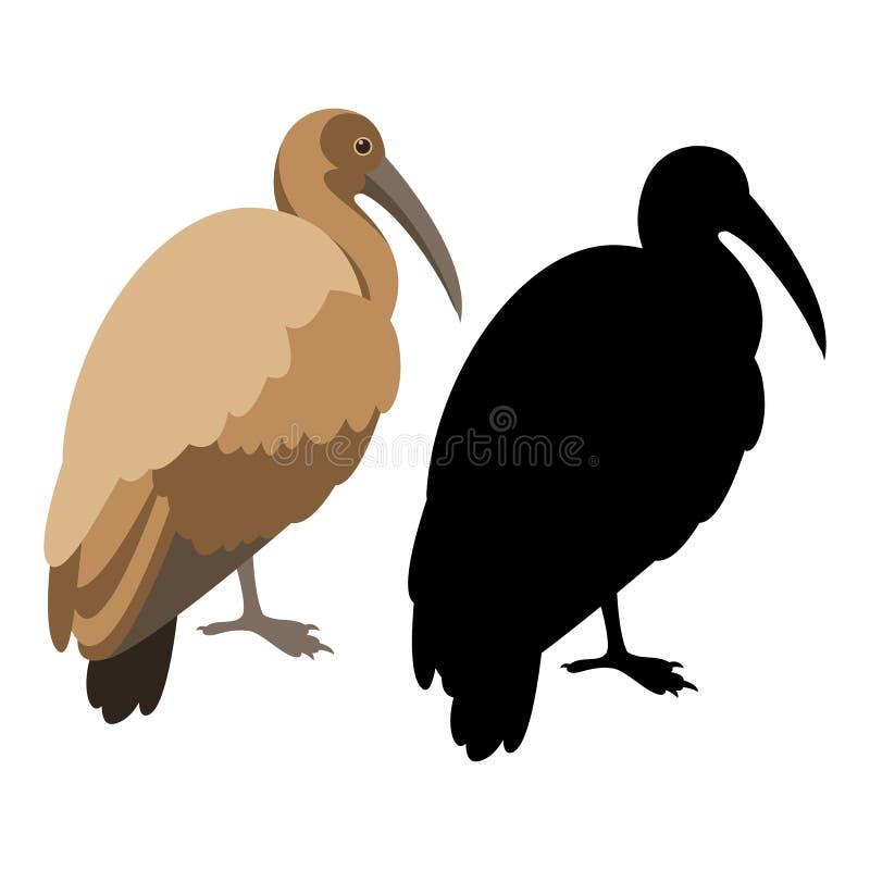 朱鹭鸟传染媒介例证平的样式黑色剪影 库存例证