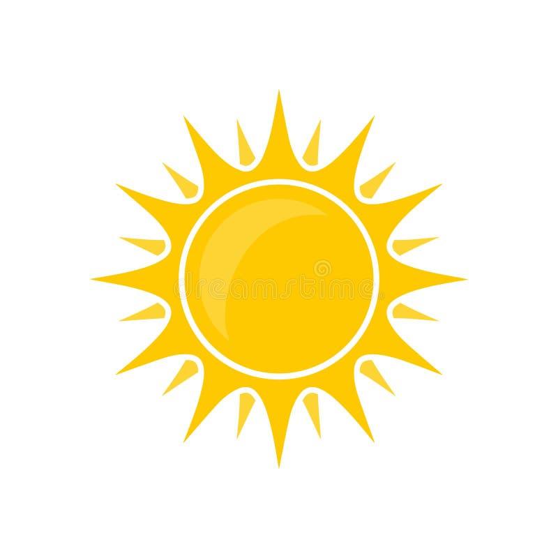 朴素抽象圆的黄色太阳明亮的传染媒介隔绝了夏天象设计 皇族释放例证