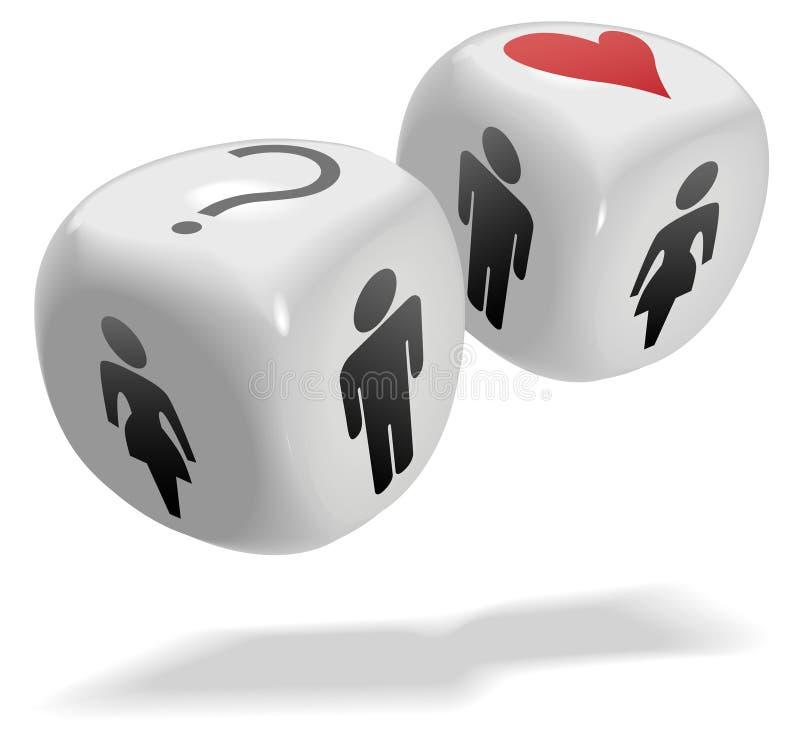机会多维数据集把比赛爱幸运人员切成小方块 向量例证
