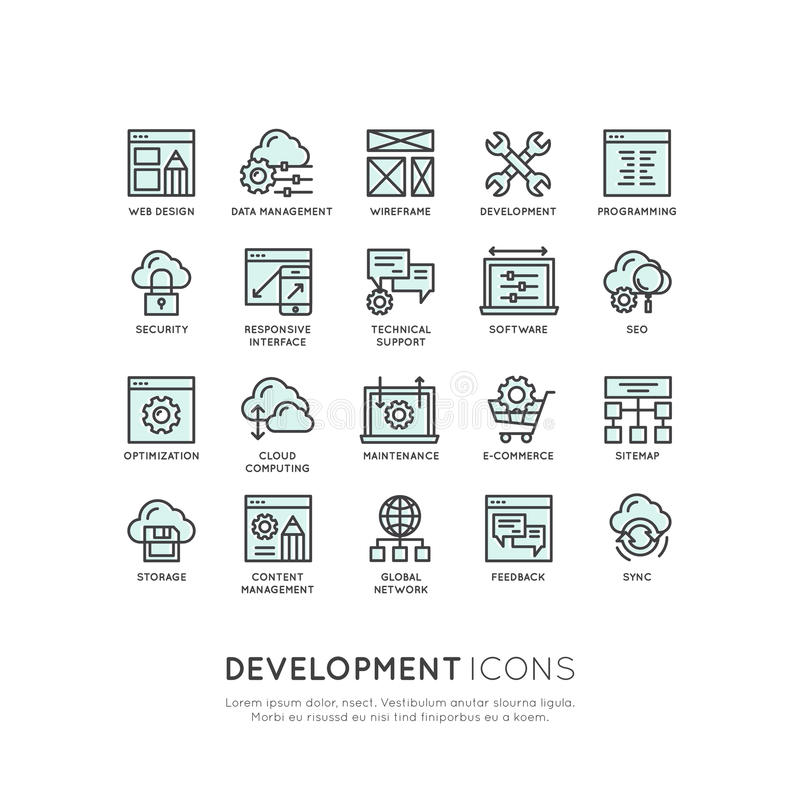 机动性和App开发工具和过程,编程,编码过程 皇族释放例证