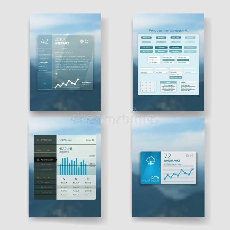 机动性的现代用户界面屏幕模板 皇族释放例证