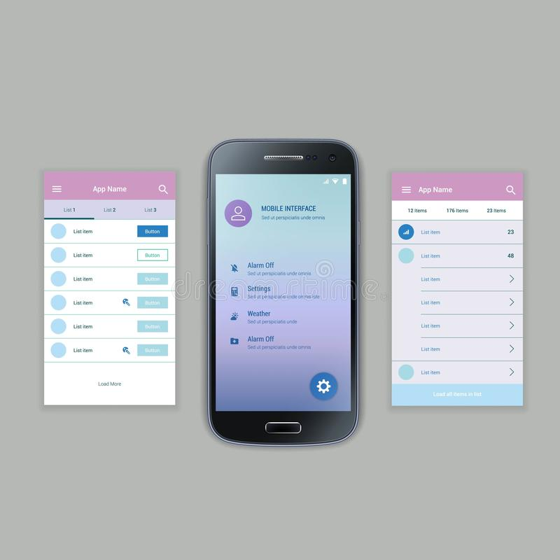 机动性筛选用户界面成套工具 现代用户 库存例证