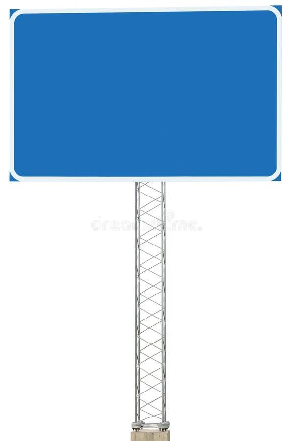 机动车路公路交叉点行驶方向信息标志盘区牌,大被隔绝的空白的空的蓝色拷贝空间路旁交通 免版税库存图片