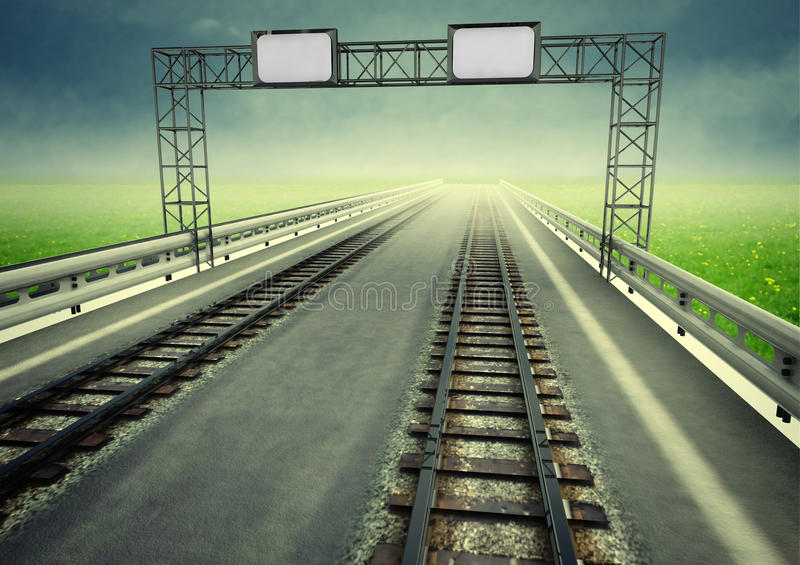 机动车路的转换对生态学铁路运输的 向量例证