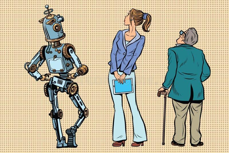 机器人、女孩和老观察者回来 皇族释放例证
