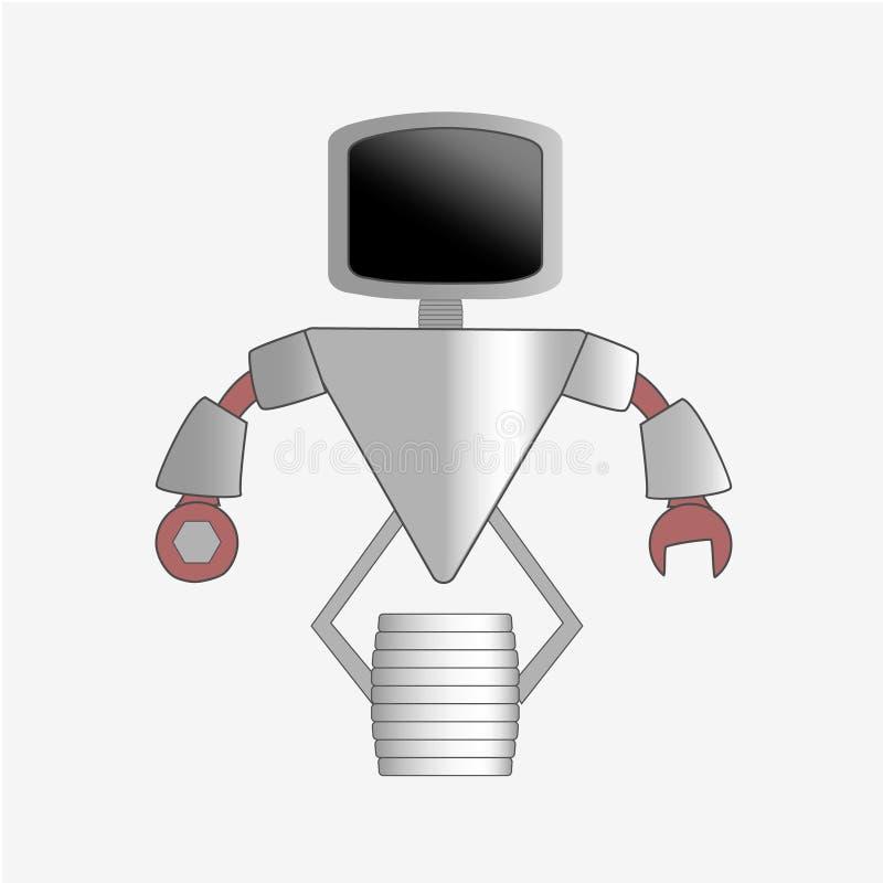 机器人与充分的身体的字符象 向量例证
