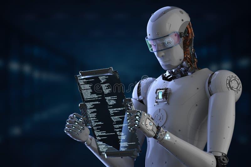 机器人与数字式片剂一起使用 库存例证