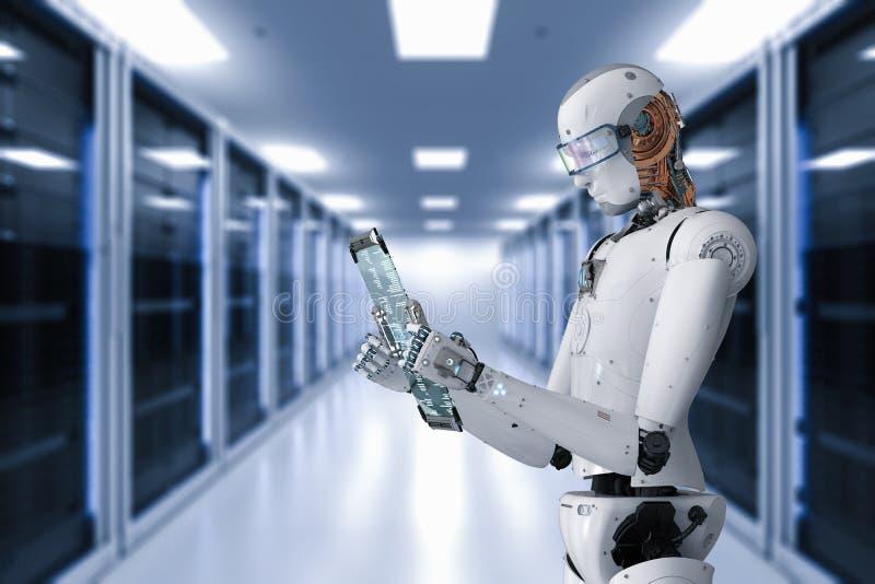 机器人与数字式片剂一起使用 向量例证