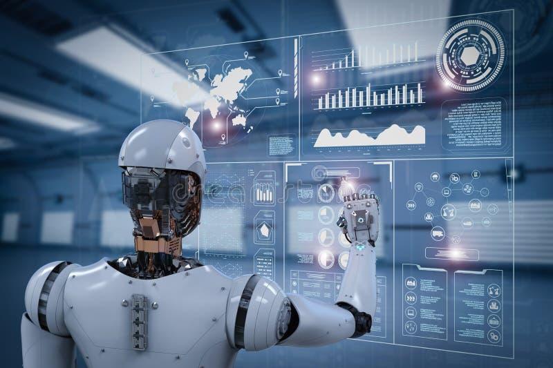 机器人与数字显示一起使用 免版税库存图片