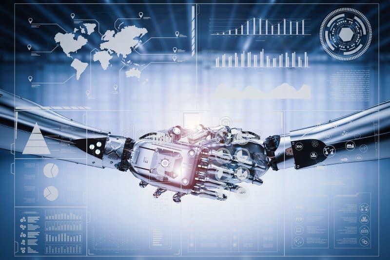 机器人与真正图表的手震动 皇族释放例证