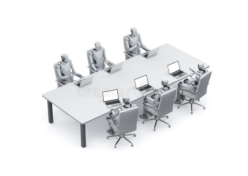 机器人与膝上型计算机一起使用 皇族释放例证